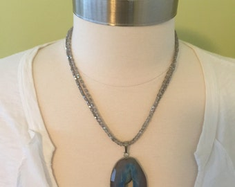 "Double strand,hand beaded, natural blue  agate pendent necklace, 19""L ."