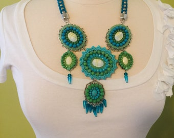 Stunning Handmade Turquoise & Green Glass Beaded Multi Tiered Pendent Statement Necklace.