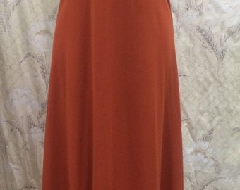1970s Rust Maxi Dress, Rust Evening Gown
