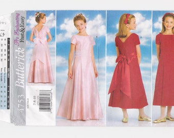 "Vintage Butterick, 'Fast & Easy', girl's 'princess-line' dress pattern #4753, size 7-8-10, breast 26 - 281/2"", waist 23 - 241/2, from 1996."