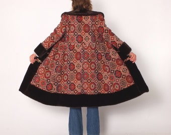 1960s 1970s Vintage Princess Tapestry Coat with Faux Fur Trim and Cuffs