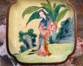 Antique Export Chinese Sauce/Ring Dish Hand Painted Enamel Copper Woman in a Tropical Landscape Marked at Back in Black CHINA c 1920-30