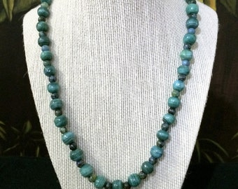 24'' loop, Green Ceramic And Stone Necklace.