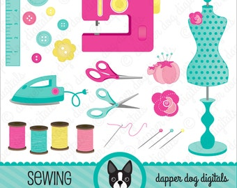 Sewing Clipart Pack - Commercial Use, Vector Images, Digital Clip Art, Digital images