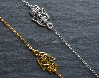Sterling Silver/Gold Hamsa Hand Bracelet- sterling silver hamsa hand bracelet- gold hamsa hand bracelet/ hand fatima