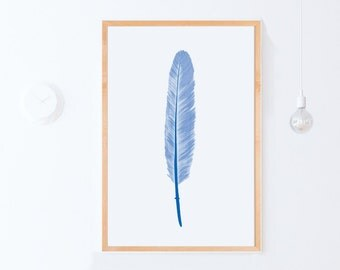 Printable Nursery Art, Blue Wall Print, Feather Art Blue Wall Art Print, Blue Feather Digital Art, Blue Home Decor Poster PRINTABLE DOWNLOAD