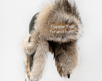 Amazing CULPEO FOX bomber hat with earflaps made with natural leather and natural andian (WOLF) fox Russian hat