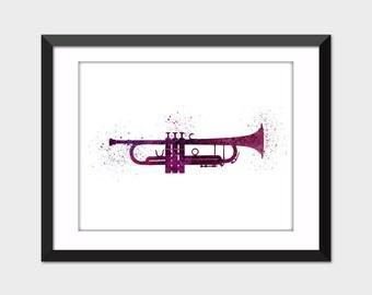 Trumpet Music Watercolor Splattered Art Print, Printable Art, Instant Digital Download