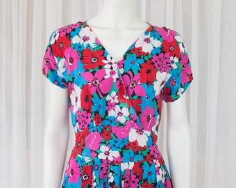 Floral retro vintage dress 8-12 summer spring