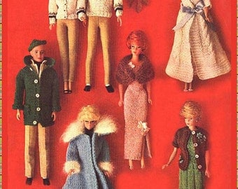 Knitting pattern for various outfits for Barbie and Ken