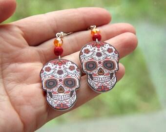 Sugar skull earrings, Halloween earrings, Scary earrings , skeleton earrings, colorful skull - pick one!