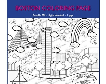 Boston Coloring Page for Adults or Kids | Coloring Page PDF Download for Trip Preparation or Just for Fun | Adults coloring | Coloring page