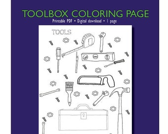 ToolBox Coloring Page for Adults or Kids | Coloring Page PDF Download | Adults coloring | Coloring page | PDF Printable | Tools | Toolbox