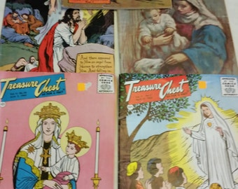 5 vintage treasure chest comic books 1959 - 1960 - religious / pioneer antique magazines story childrens kids bedtime church bible
