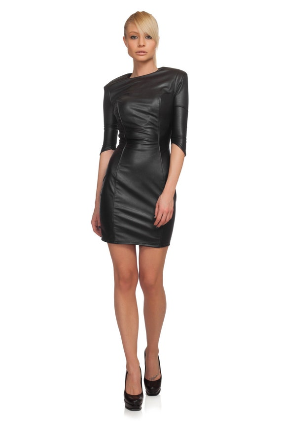 Black dress bdsm black cocktail dress bondage dress leather dress