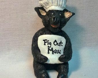 """Handpainted """"Pig Out Menu"""" Pig Figurine"""