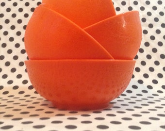 C.1960's~Fox Specialty Co.~Tangerine~Plastic Fruit Bowls~Set of 4~Made in U.S.A