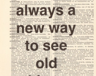 "Genuine Vintage 1948 Dictionary Page 5 x 7 Print ""Always a new way"" Quote"