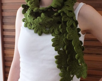 Crochet Flower Scarf Cable Scarf Winter Scarves Scarf Crochet Knit Scarf Green Scarf Homemade Scarfs Gift for Her