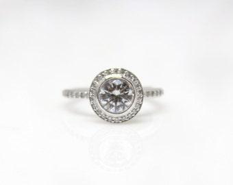 Platinum Bezel Set Diamond Engagement Ring Setting  Bride Wedding Halo