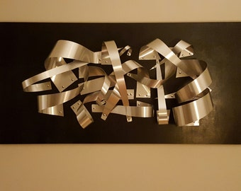 Wall art- wood and metal original-Title of piece -Defiant 24x48 wood and flash metal