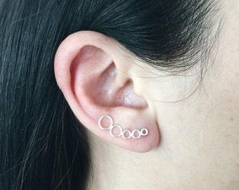 Minimal molecule ear climbers, Sterling silver minimal molecule ear climbers, Minimal ear crawlers, Dainty ear crawler (C34)