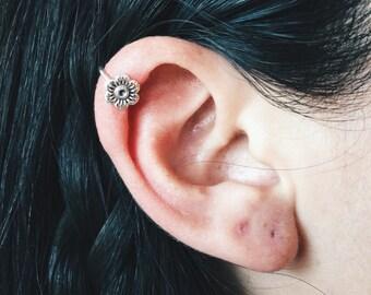 Flower ear cuff, Sterling silver flower ear cuff, Dainty ear cuff, Dainty flower ear cuff, Flower jewellery (EC23)
