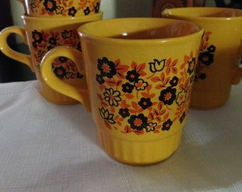Vintage Orange Flower Ironstone Coffee Cups Mugs Collingswood Ware Made in England