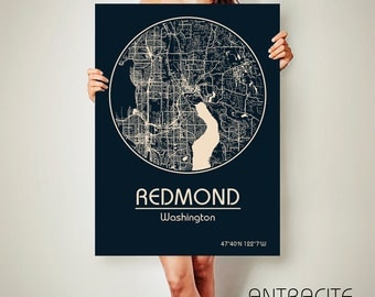REDMOND Washington CANVAS Map Redmond Washington Poster City Map Redmond Washington Art Print Redmond Washington