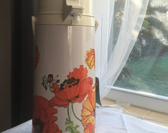 Vintage Air pot coffee carafe, with poppies and new with tags