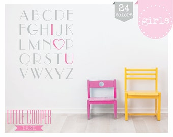 "Girls Love Alphabet ""I Heart U"" Vinyl Wall Decal Sticker_Large_ for Nursery or Kids Room_58x75cm_ID#1324"