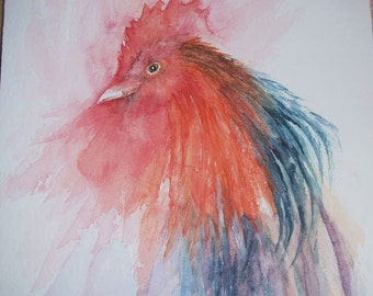 Watercolour painting of Rooster
