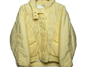 Vintage Light Yellow Puffy Coat CB Sport