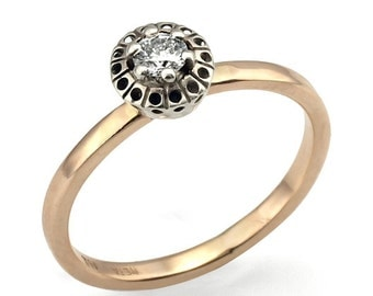 Engagement Ring, Art Deco Style In 18K Gold Diamond Engagement Ring, Diamond Ring, Wedding Ring, Art Deco, Bridal Ring, Anniversary Ring