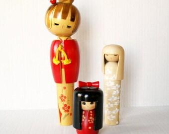 Kokeshi Japanese Wooden Dolls Folk Art, Usaboro Bobbed Hair, Round Head