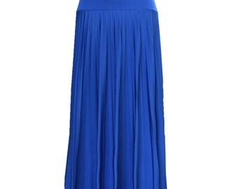 Royal Blue Flare Jersey Pleated Maxi Skirt | Modest Long Skirt | Islamic Clothing S M L XL 2XL 3XL