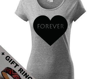 Women's Forever Love shirt, + gift ring, Eco-friendly printed,Yoga shirt, Joga clothes, Pilates, Heart, Cute XS, S, M, L, XL, XXL