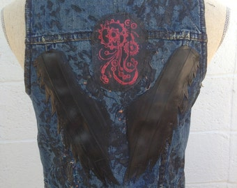 Industrial Punk Vest Bike Denim Vest Post Apocalyptic Mad Max Style Vest Punk Glam Rock Rocker Critical Mass Rock Stage Wear Size Medium