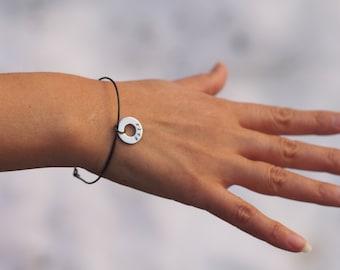 Personalized Washer Bracelet, Personalized Thin Bracelet, Hand Stamped, Personalized Black Bracelet, Custom Bracelet, Delicate Bracelet