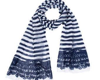 A Nautical Scarf - Blue Black and white