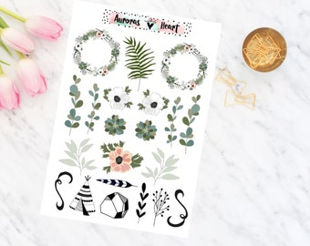 Flowers darkgreen & rose doodle planner stickers