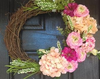 Country wreath, Spring Hydrangea Wreath, Spring Door Wreath, Wedding Wreath