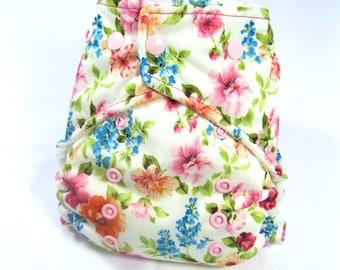 Garden Flower Cloth Diaper, Pocket Diaper, One Size Diaper
