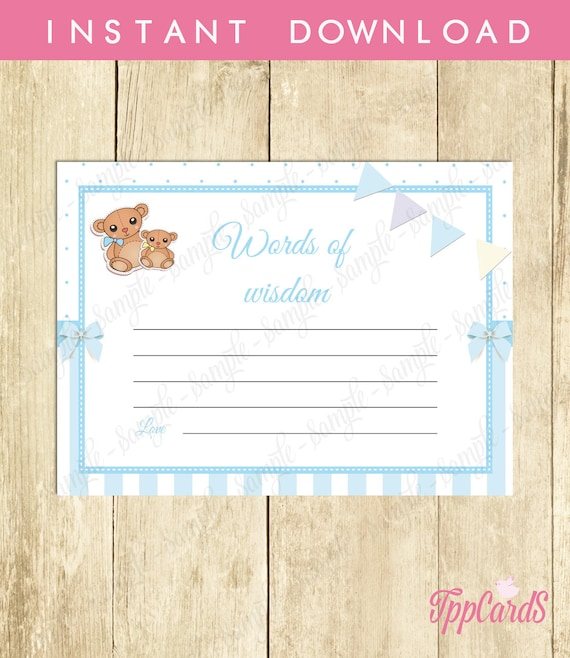 Advice For Parents to Be Card, Words of Wisdom Baby Shower ...