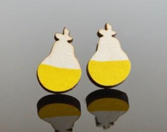 Yellow Wood Earrings Wooden Earrings Laser Cut Jewellery Unique Earrings Yellow Pear Lasercut Jewelry Wood Stud Earrings Hand Painted