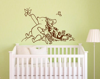 Winnie The Pooh Wall Decals Nursery- Classic Winnie The Pooh Piglet Tigger Wall Decal Kids Baby Room Nursery Pooh Bear Home Decor 026