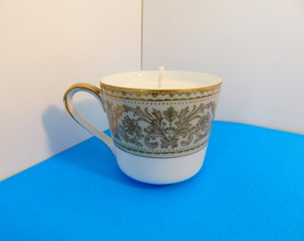 Soy candle in teacup