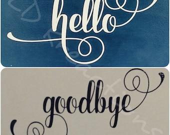 Hello & Goodbye Front door decal - door decal - vinyl decals