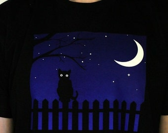 Cat Moon Fence. Cat shirt. Men's & Women's shirts and tank tops. Screen Printed, not vinyl!