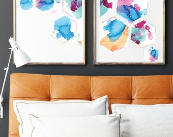 Honeycomb Ink Splatter Prints